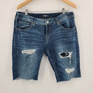Silver Jeans Shorts Cut Out